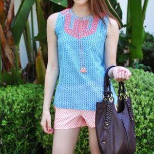 Jcrew neon cotton/silk tank top blue coral
